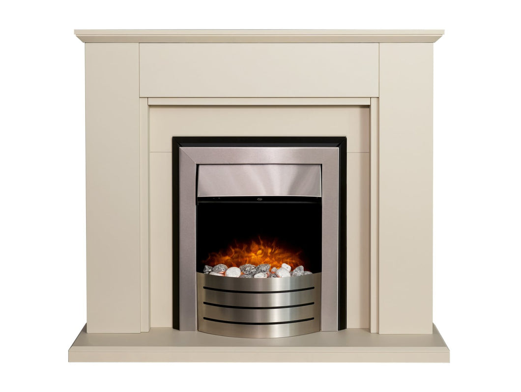 Adam Greenwich Fireplace in Stone Effect with Comet Electric Fire in Brushed Steel, 45 Inch