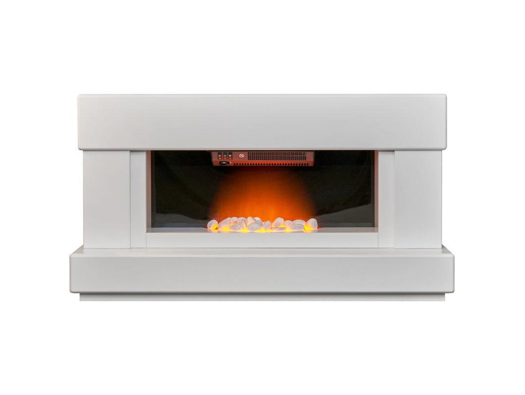 Adam Verona Fireplace Suite in Pure White, 48 Inch