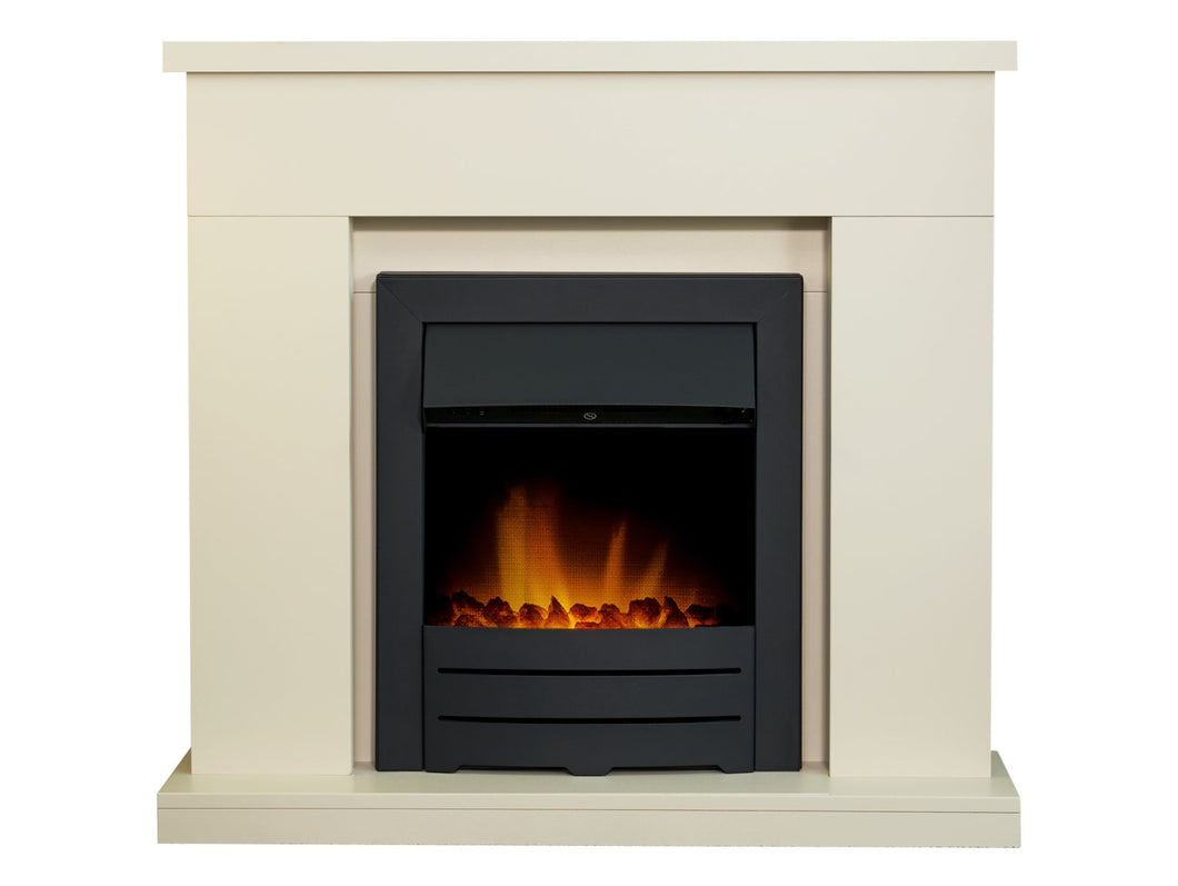 Adam Lomond Fireplace in Stone Effect with Colorado Electric Fire in Black, 39 Inch