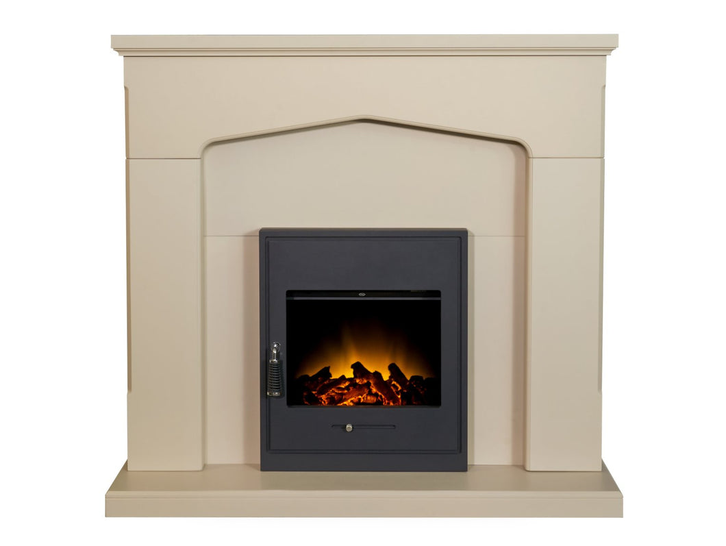 Adam Cotswold Fireplace in Stone Effect with Oslo Electric Inset Stove in Black, 48 Inch