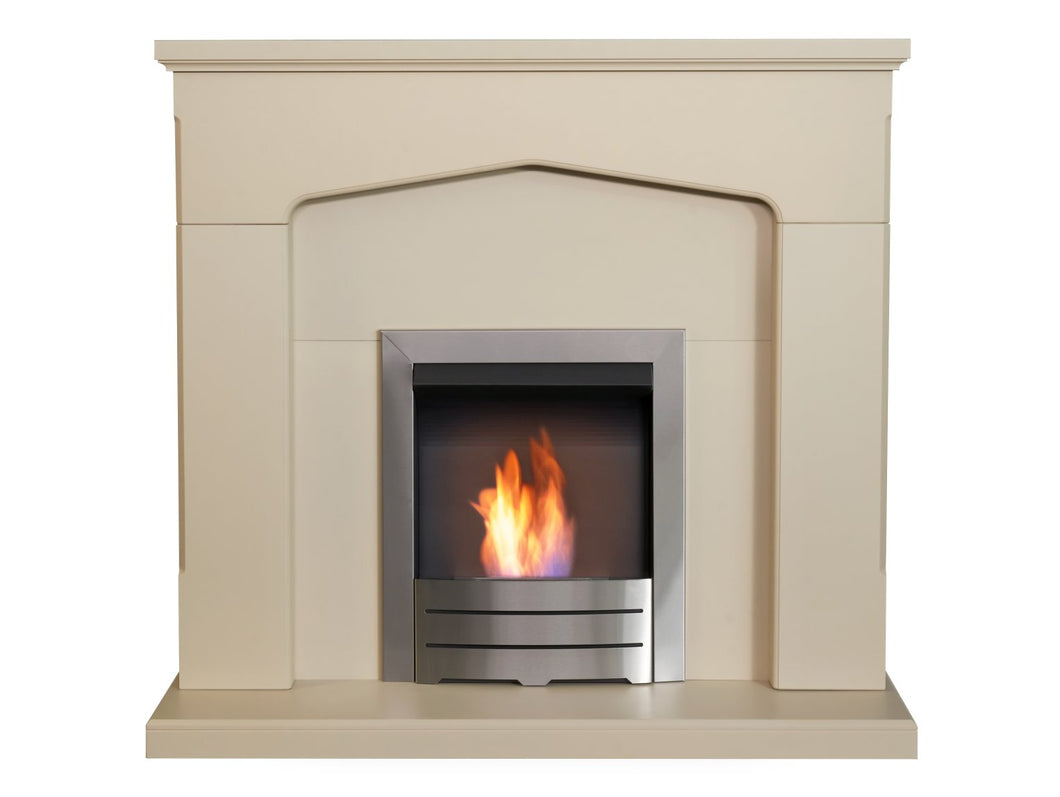 Adam Cotswold Fireplace in Stone Effect with Colorado Bio Ethanol Fire Brushed Steel, 48 Inch
