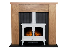 Load image into Gallery viewer, Adam New England Stove Fireplace in Oak & Black with Woodhouse Electric Stove in Pure White, 48 Inch