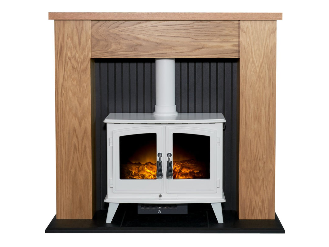 Adam New England Stove Fireplace in Oak & Black with Woodhouse Electric Stove in Pure White, 48 Inch