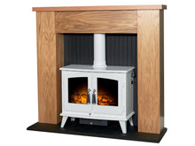 Load image into Gallery viewer, Adam New England Stove Fireplace Oak & Black + Woodhouse Electric Stove Pure White, 48""