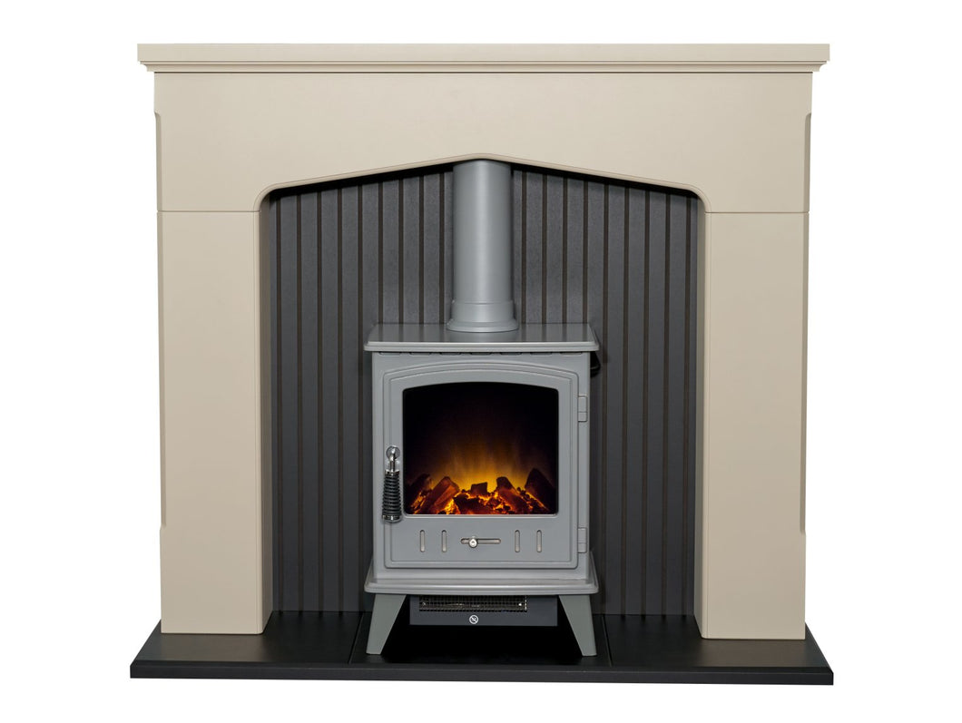 Adam Ludlow Stove Fireplace in Stone Effect with Aviemore Electric Stove in Grey, 48 Inch