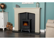 Load image into Gallery viewer, Adam Ludlow Stove Fireplace Stone Effect + Hudson Electric Stove Black, 48""