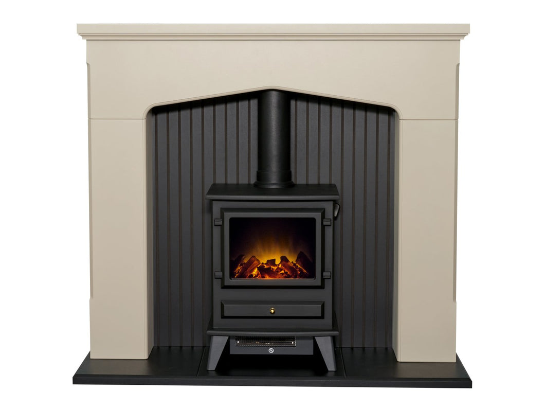 Adam Ludlow Stove Fireplace in Stone Effect with Hudson Electric Stove in Black, 48 Inch