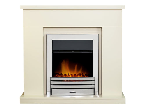 Adam Lomond Fireplace in Stone Effect with Eclipse Electric Fire in Chrome, 39 Inch