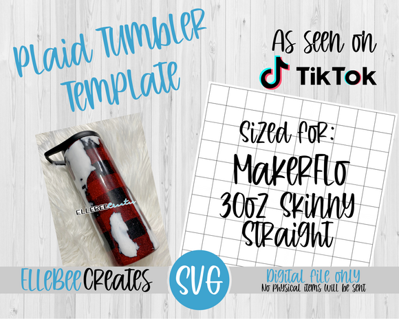 Plaid Tumbler Template 30oz Skinny Straight MakerFlo