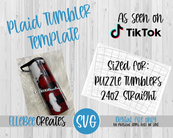 Plaid Tumbler Template 24oz Straight Puzzle Tumblers