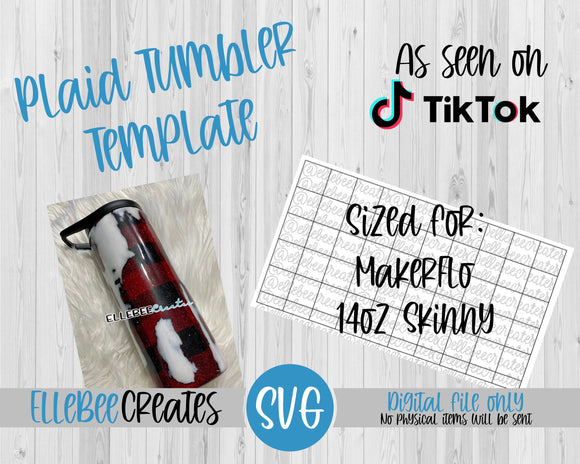 Plaid Tumbler Template 14oz Skinny Makerflo