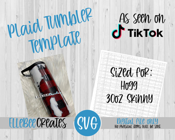 Plaid Tumbler Template 30oz Skinny Tapered Hogg
