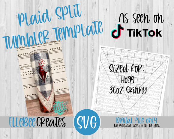 Plaid Split Tumbler Template 30oz Skinny Hogg
