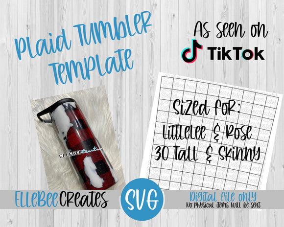 Plaid Tumbler Template 30oz Tall and Skinny LittleLee and Rose