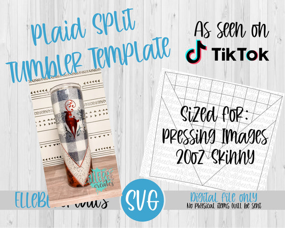 Plaid Split Tumbler Template 20oz Skinny Pressing Images