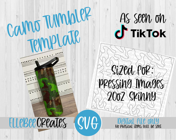 Camo Tumbler Template 20oz Skinny Pressing Images