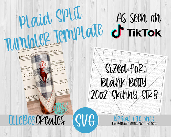 Plaid Split Tumbler Template 20oz Skinny Str8 Blank Betty Bamalam