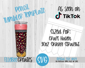 Pencil Tumbler Template 30oz Skinny Straight Craft Haven