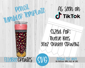 Pencil Tumbler Template 30oz Skinny Straight Twelve Bees