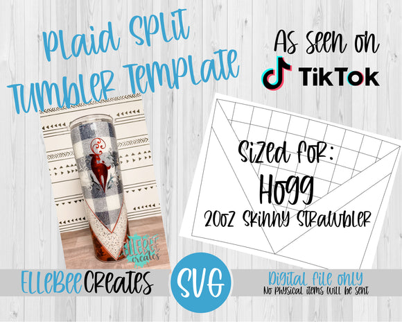 Plaid Split Tumbler Template 20oz Skinny Strawbler Hogg