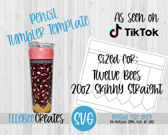 Pencil Tumbler Template 20oz Skinny Straight Twelve Bees