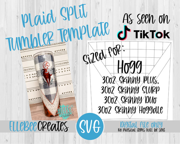 Plaid Split Tumbler Template SVG 30oz Skinny Plus, Skinny Slurp, Skinny Duo, Skinny Hoggdle Hogg