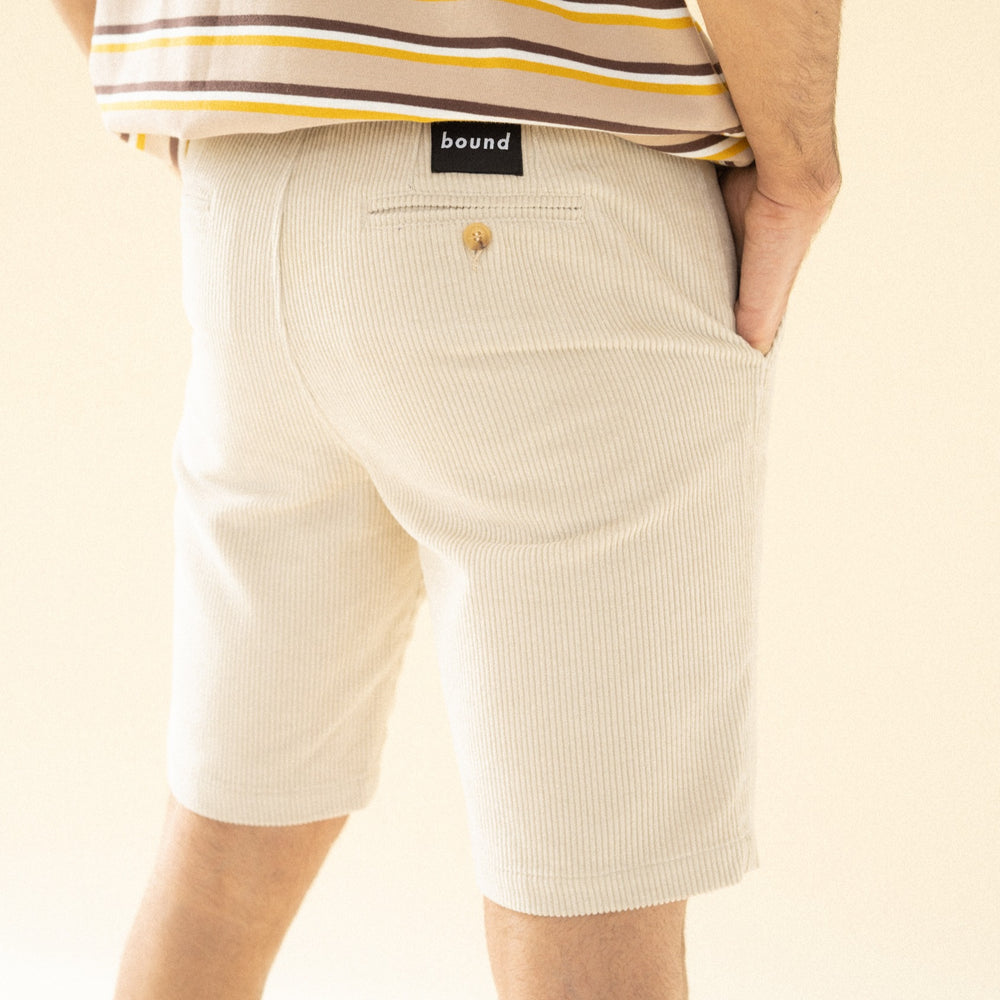 bound 'Cream' Cord Shorts