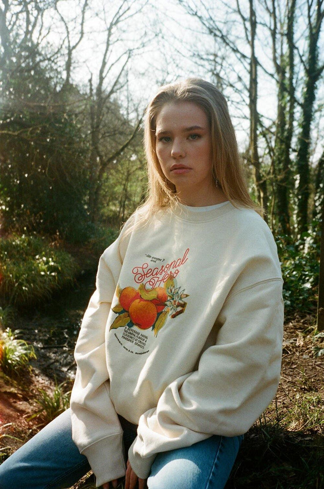 Seasonal Hero 'Oranges' Oversized Sweater - Organic Natural - UN:IK Clothing