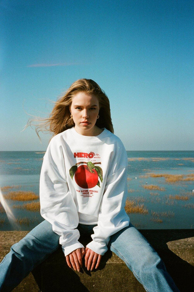 Load image into Gallery viewer, Seasonal Hero 'Apple Branch' Oversized Sweater - Organic White - UN:IK Clothing