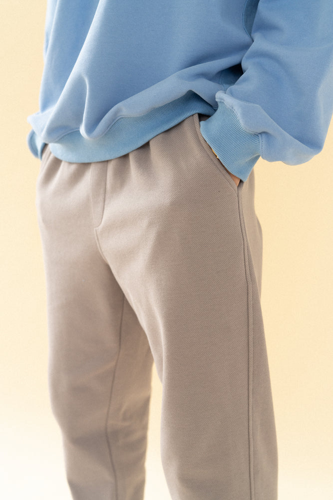 bound 'Textured Grey Cotton' Trousers