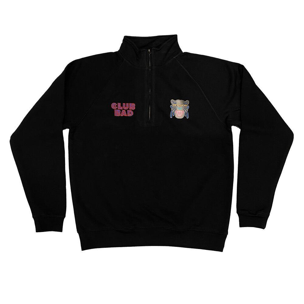 Melé x Club Bad 'Panther' 1/4 Zip Sweater - Black - UN:IK Clothing