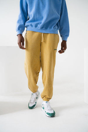 Load image into Gallery viewer, Seasonal Hero 'Script' Vintage Washed Joggers - Mustard Marl - UN:IK Clothing