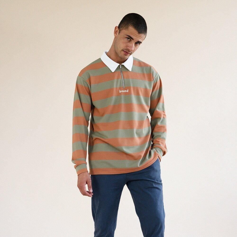 bound 'PIQUE STRIPE' ZIP POLO - UN:IK Clothing