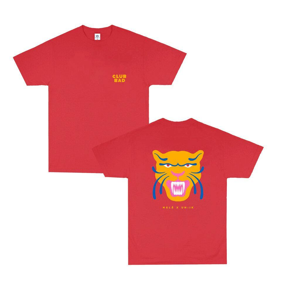Melé x Club Bad 'Fire Panther'  Tee - Red - UN:IK Clothing
