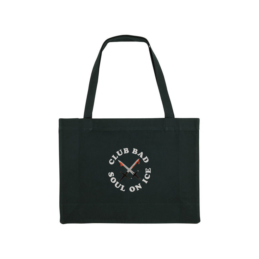 Load image into Gallery viewer, Melé x Club Bad 'Soul on Ice' Organic Shopper Bag - Black