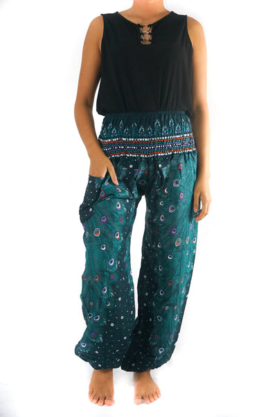 Teal PEACOCK Pants Women Boho Pants Hippie Pants Yoga - pinacled