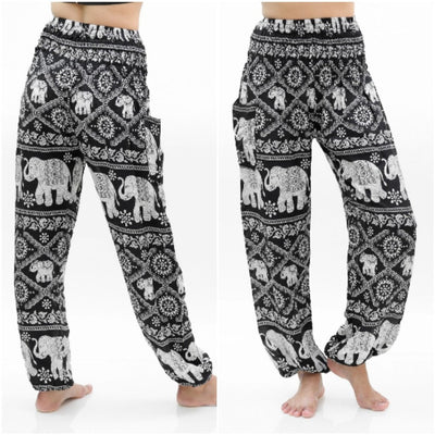 Black ELEPHANT Pants Women Boho Pants Hippie Pants Yoga - pinacled