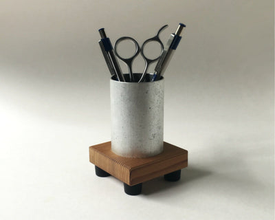 Pencil Cup in Reclaimed Wood and Recycled Metal - pinacled