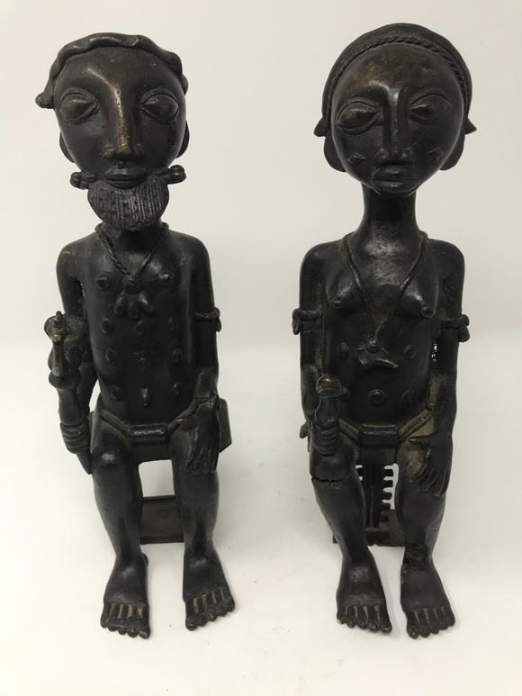 Seated Baule Bronze King and Queen, Baule Peoples, Cote d'Ivoire