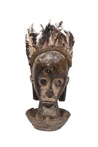 Bieri Reliquary Guardian Figure with Feather Headderess, Fang Tribe, Gabon