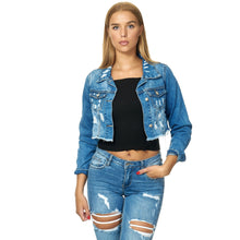 Lade das Bild in den Galerie-Viewer, Cropped-Jeansjacke