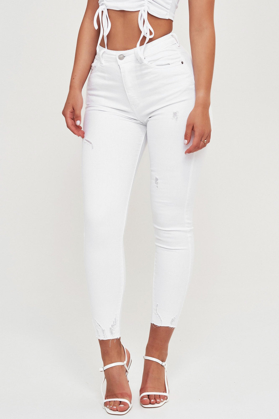 Weiße High Waist Basis Jeans