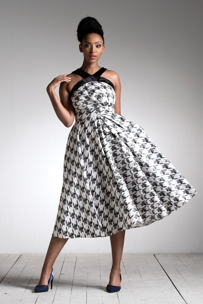 Houndstooth Halter Twist Dress