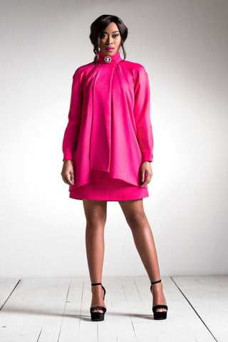 Long Sleeve Neck-Tie Dress