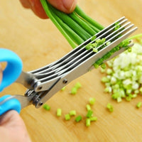 Multifunctional Muti Layers Stainless Steel Knives Multi-Layers KItchen Scissors Scallion Cutter Herb Laver Spices Cook Tool Cut