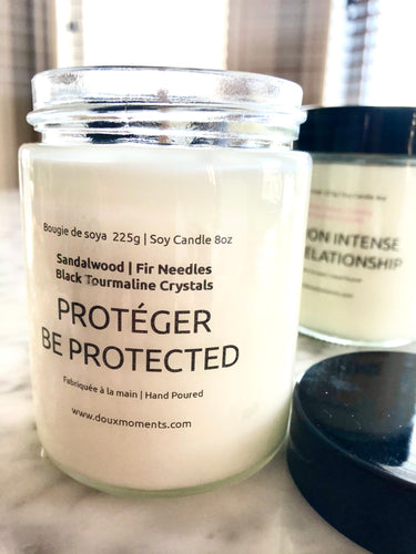 SCENTED SOY CANDLE WITH CRYSTALS | BE PROTECTED