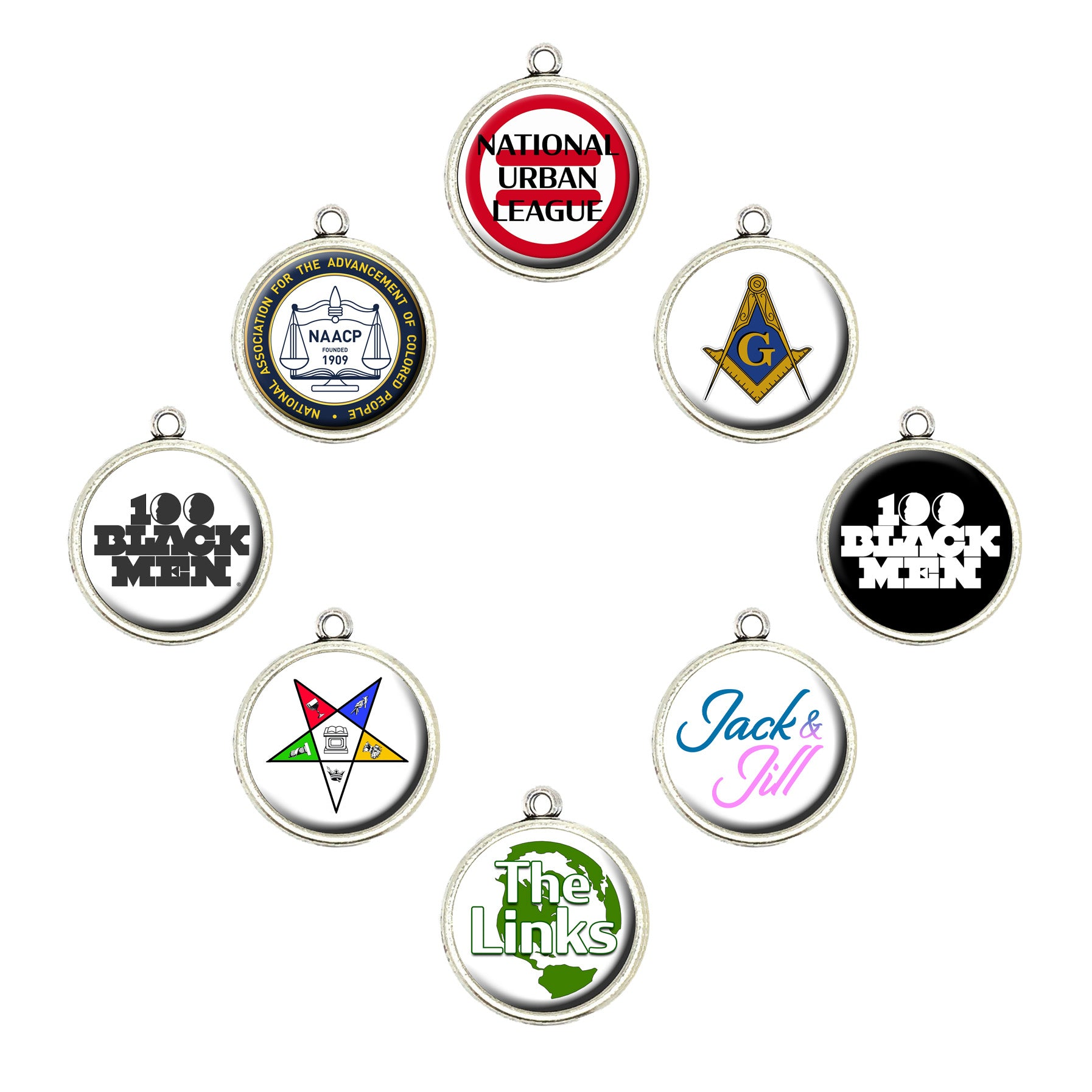 Black Social Organization Cabochon Charms