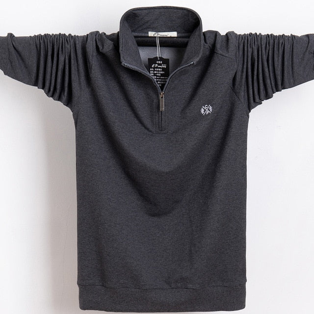 Men's Long Sleeve Polo Style Stand Collar Zip-Up Neck Shirt