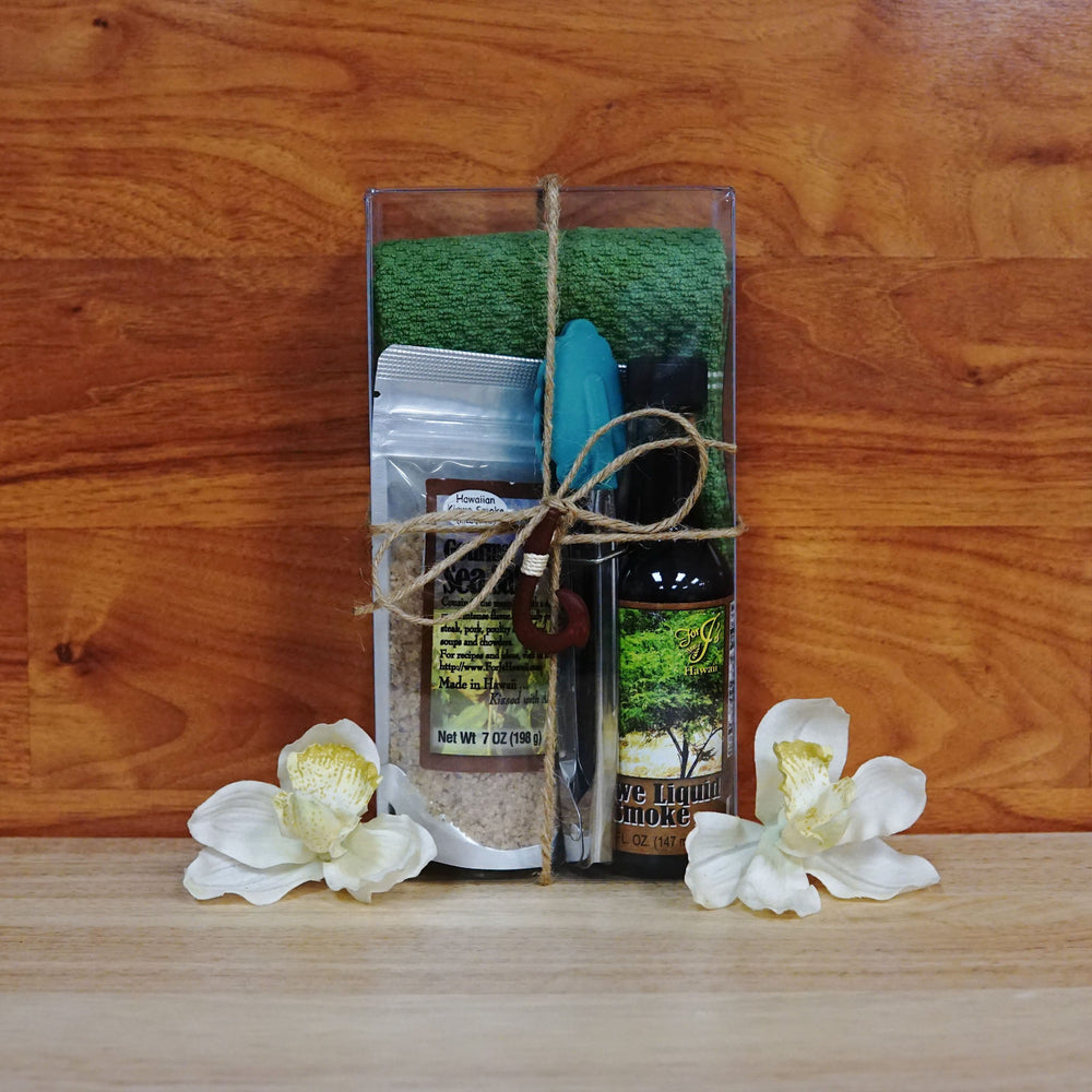 Green Deluxe Kalua Gift Box on a wooden background.