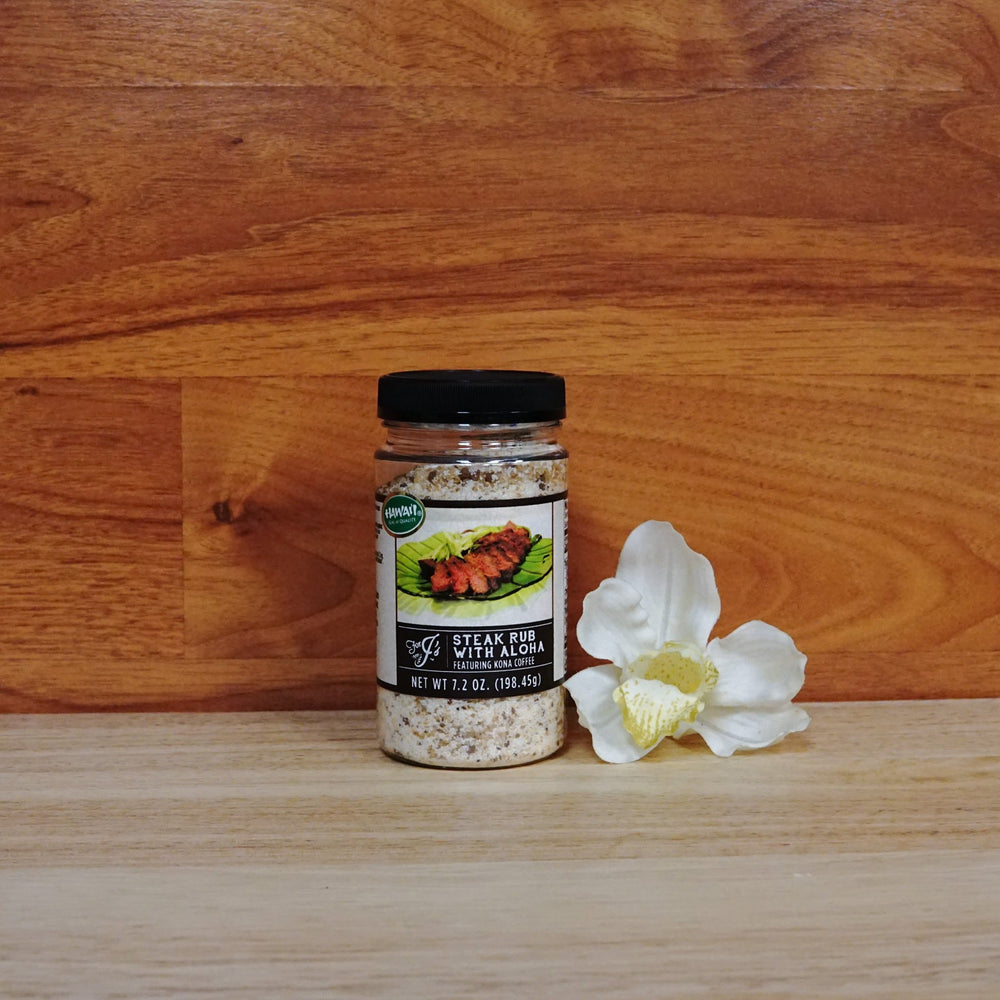 7.2 oz. Steak Rub with Aloha on a wooden background.